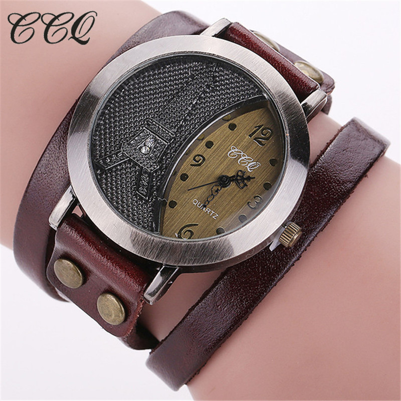 CCQ Brand Vintage Tower Watch Genuine Leather Bracelet