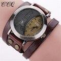 Ccq marca torre assistir genuína pulseira de couro do vintage relógios casual relógio de pulso das mulheres relógio de quartzo relogio feminino 1292