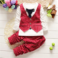 Autumn Baby boy Clothing Set 2016 Baby British style plaid vest+pant sets Baby Boys handsome casual two-piece kids clothes