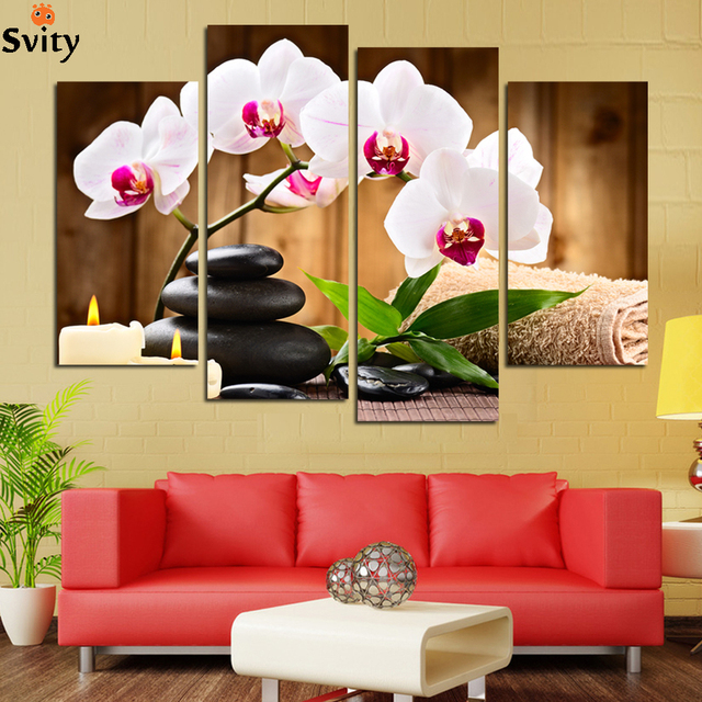 4 Pcs (No Frame) Pink Flowers Wall Art Picture Modern Home Decoration Living  Room