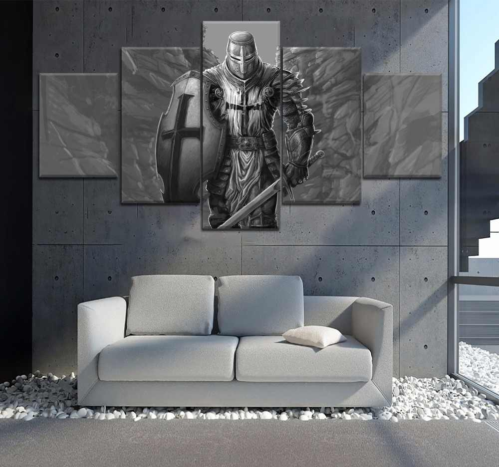 5 Piece HD Print Picture Poster Knight Templar Painting Canvas Wall Art Picture Home Decoration Living Room Canvas Painting