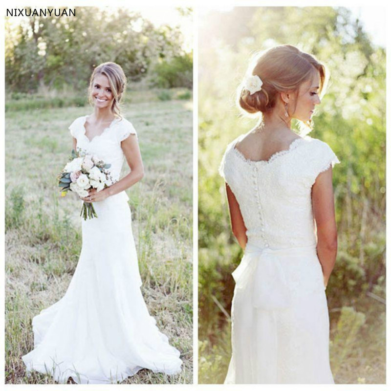 Vintage Mermaid Lace Wedding Dresses With Short Cap Sleeves Beach Bridal Gowns 2020 Country Wedding Custom Made Simple Novia