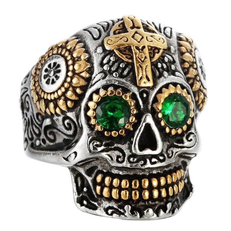 Europe et états-unis rétro titane acier crâne anneau bijoux personnalité mâle sculpté fantôme tête vert oeil anneau