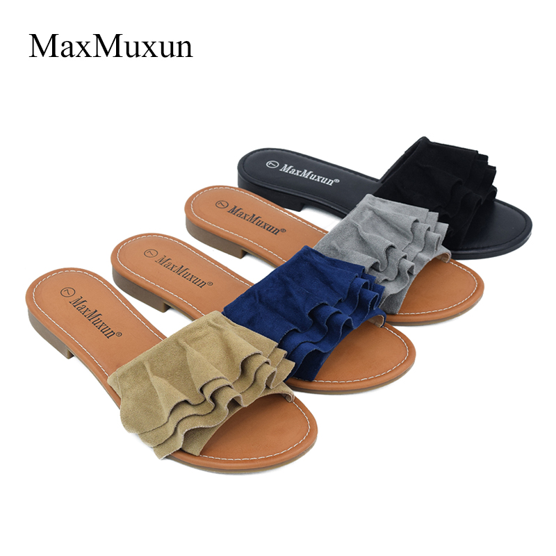 Maxmuxun Sexy Ladies Flat Sandals Flower Ruffles Shoes Women Slippers  Wedges Sandal Elegant Vacation Female Footwear Size 37 42-in Women s Sandals  from ... 4ab34349fc6d