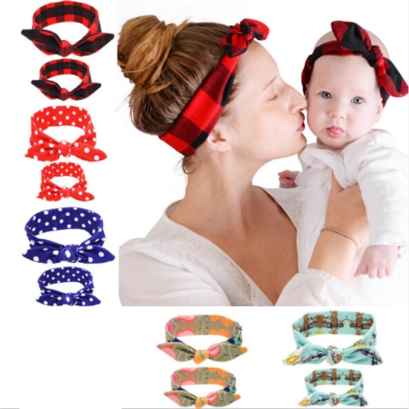 2018 New 2PC Elastic Turban Bow Knot Headband Head Wrap Parent-child Set Hair Girls DIY Bunny Rabbit Ears Hairband Hot