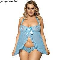 كاترينا jocelyn ماركة ملابس غريبة مثير الدانتيل الذي يمسح حضن منامة النوم زائد الحجم bowknot الحزام