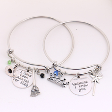 """Wicked the Musical Bangle Set,""""Because I knew you"""" """"I have been Change for Good""""Couple Jewelry Lovers'Halloween,Christmas Gifts"""