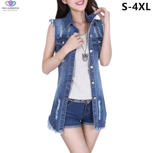 346cde66b3 2019 Spring Summer Women Denim Vest Waistcoat Female Sleeveless Denim Jacket  Coat Casual Large Sizes Vests TNLNZHYN E491