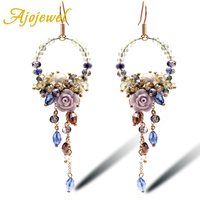 2014 Luxury Bridal Earrings Crystal Flower Drop Earrings Long Sweet Chandelier Earrings For Women