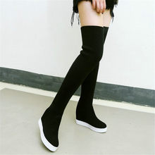 NAYIDUYUN  Thigh High Boots Women Black Wedges Faux Suede Over The Knee Riding Booties Knitting Stretch Long Sneaker Pumps