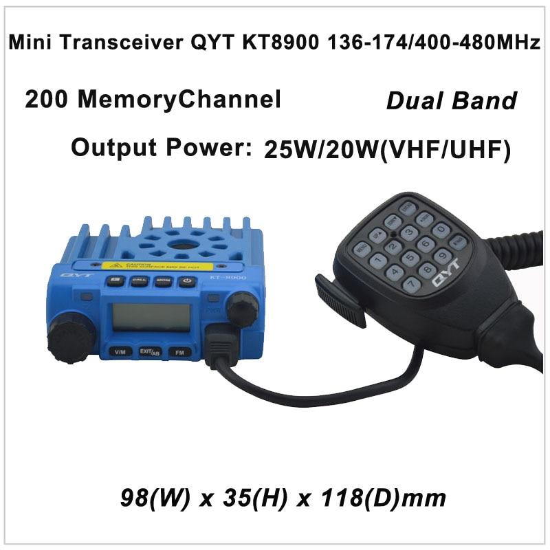 QYT KT-8900 Mini Transceptor QYT KT8900 136-174 / 400-480MHz Radio de dos vías Transceptor móvil de banda dual Color Azul