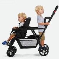 Стоять и ездить коляска для двух детей тандем коляска, складной близнецы коляска