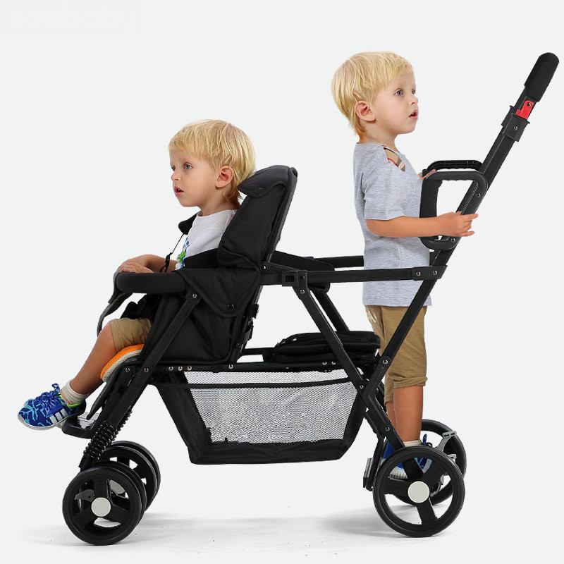 Stand and Ride Stroller For Two Children Tandem Stroller Pram, Foldable Twins Stroller