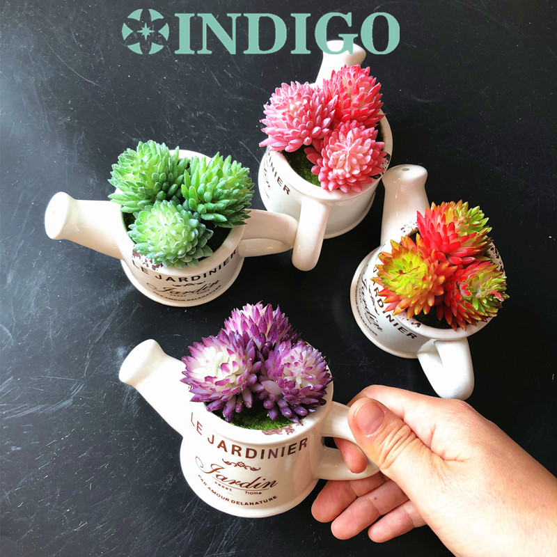INDIGO - 4 colors Succulent Plant Kettle Shape Bonsai Artificial Flower Office Table Decoration Photo Background Free Shipping