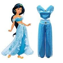 4a0c37769d Meninas Traje Jasmim conjunto das Mulheres Criança Vestido da Dança Do  Ventre Aladdin Lamp Fantasia Roupas Adulto Criança Prince.