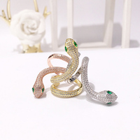 Exquisite Gold Silver Pave CZ Green Eye Snake Rings for Women CZ Jewelry Cubic Zirconia Double Layers Open Ring Top Quality