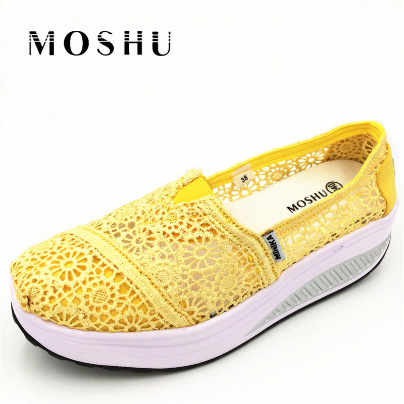 Designer Women Casual Shoes Wedge Loafers Creepers Platform Flats Summer Breathable Mesh Slip On Chaussure Femme 2017 summe breathable women shoes lace loafers summer wedges hide heel casual shoes creepers platform shoes woman slip on flats