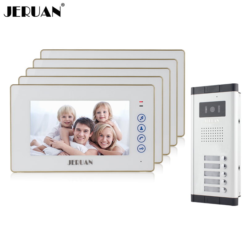 JERUAN  Apartment Doorbell intercom 7`` Touch key Video Door Phone  Intercom System 5 Monitor 700TVL IR Camera for 5 Call Button wireless service call bell system popular in restaurant ce passed 433 92mhz full equipment watch pager 1 watch 7 call button