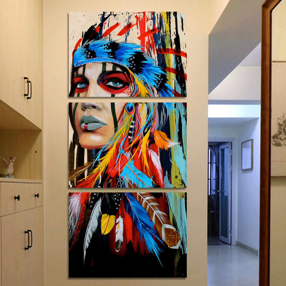 Beauty Native American Indian Girl Feather Woman Portrait Wall Art Canvas Painting for Living Room Home Decor Drop shipping