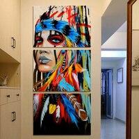Uroda Native American Indian Dziewczyna Ptaków Blejtram Malarstwo Home Decor Wall Art dla Salonu Biura Wystrój Dropship