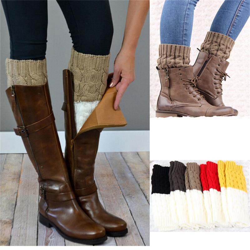 Winter Women Leg Warm Socks Toppers Cuffs Boot Cover Crochet Knit Boot Socks NEW