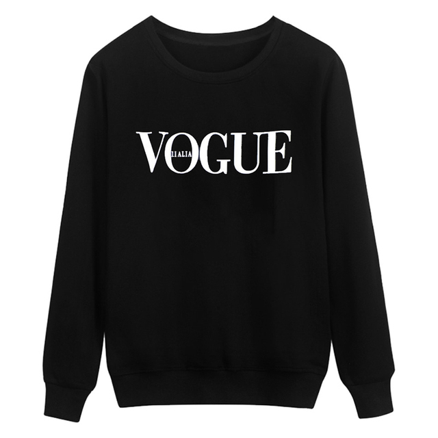 2017 Brand Summer Tops Fashion Clothes for Women VOGUE Letter Printed Harajuku hoody Red Black female hoody Camisas