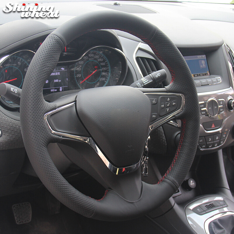 Shining wheat Black Genuine Leather Car Steering Wheel Cover for Chevrolet New Cruze 2015 Volt 2016