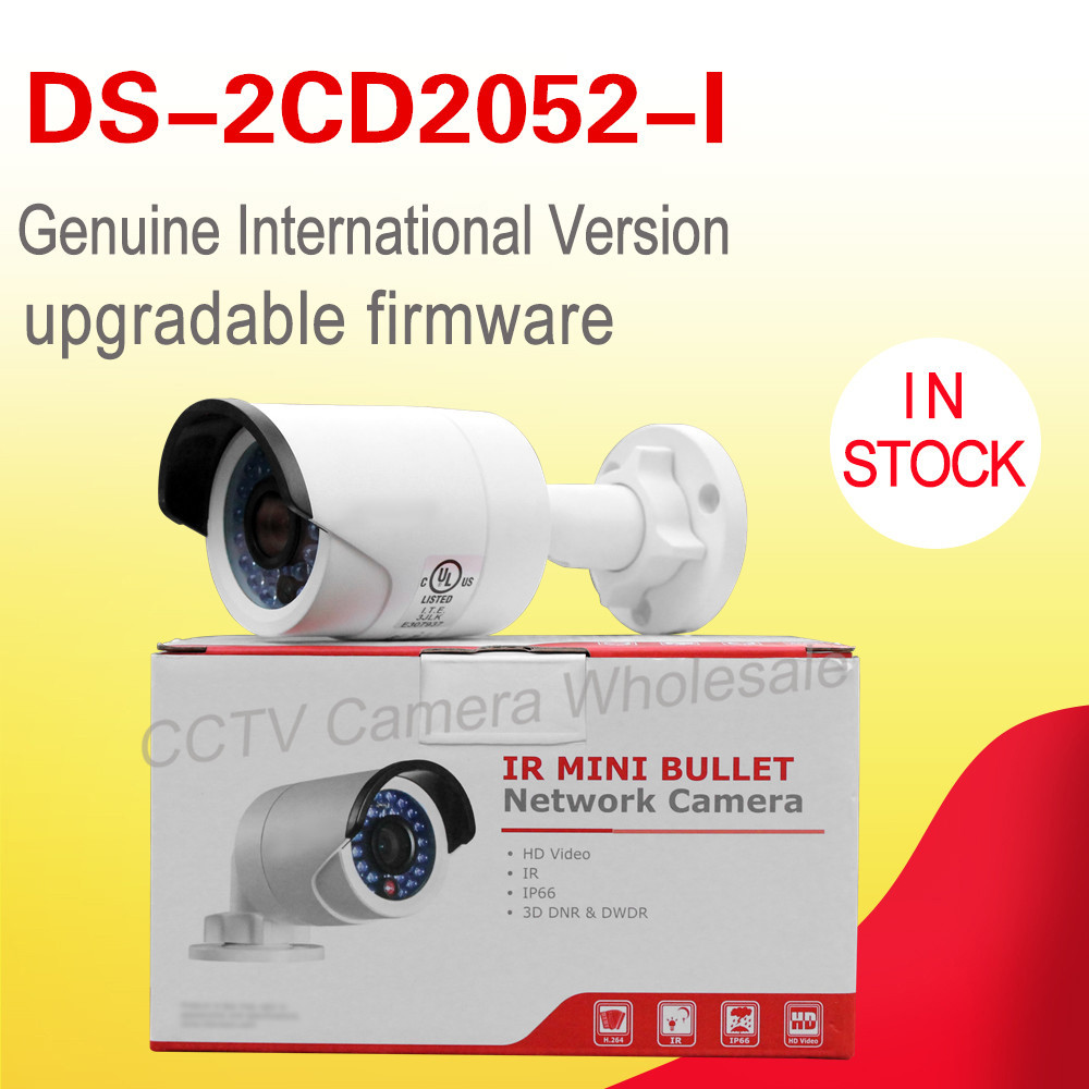 DHL free shipping In stock English version DS-2CD2052-I 5MP min network bullet CCTV camera POE with 30m IR p2p cloude ip camera