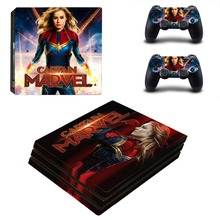 Captain Marvel The Avengers PS4 Pro Skin Sticker For PlayStation 4 Console and 2 Controllers PS4 Pro Skin Stickers Decal Vinyl