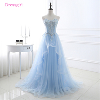 Sky Blue Evening Dresses 2018 A Line Sweetheart Tulle Lace Crystals Elegant Women Long Evening Gown