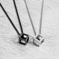 Fashion Hollow Cubic Pendant Necklaces For Women Jewelry Silver Color Men Necklaces Pendants Black Color Pendants For Unisex