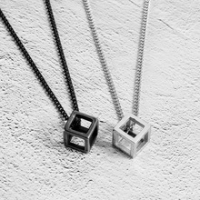 hot deal buy fashion hollow cubic pendant necklaces for women jewelry silver color men necklaces pendants black color pendants for unisex