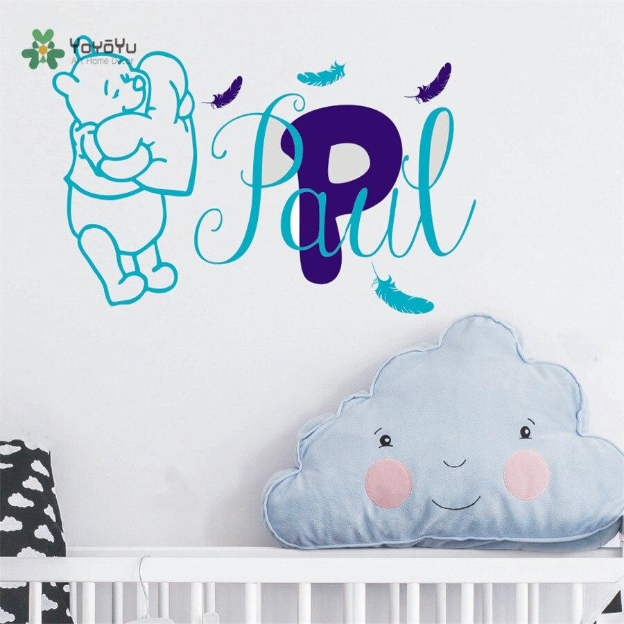 € 10.14 15% de réduction|Stickers muraux bébé Winnie l\'ourson plumes vinyle  autocollant personnalisé nom bébé fille garçon chambre Sticker ...