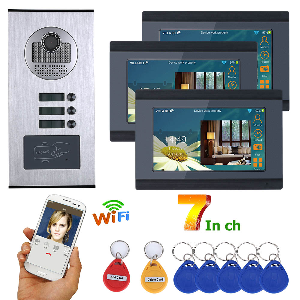 MOUNTAINONE 7inch Wired Wifi 3 Apartment/Family Video Door Phone Intercom System RFID IR-CUT HD 1000TVL Camera Doorbell Camera