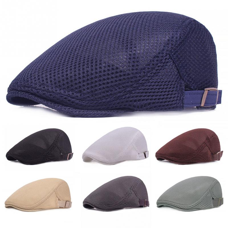 Summer Men Women Casual Beret Hat Fashion Flat Cap Newsboy Style Gatsby Hat Adjustable Breathable Mesh Caps(China)