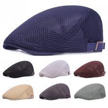 Letni mężczyzna kobiet dorywczo Beret kapelusz moda płaska czapka gazeciarz styl Gatsby kapelusz regulowane oddychające czapki z siatki tanie tanio Favolook Unisex Bawełna Poliester Other Dla dorosłych Beret Hat Stałe Na co dzień Berety