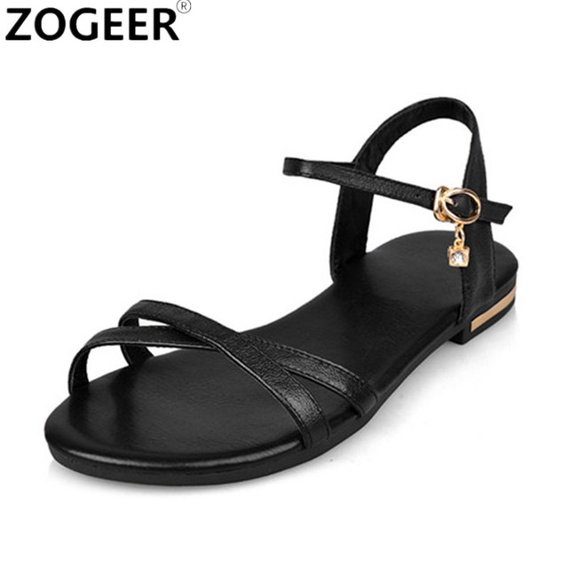 41b885032e1 New 2018 Women Summer Sandals Genuine Leather Flip Flops Casual Flat Heel Sandal  Women White Gold