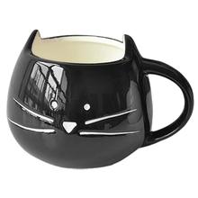 Coffee Cup White Cat Animal Milk Cup Ceramic Lovers Mug Cute Birthday gift,Christmas Gift(Black)