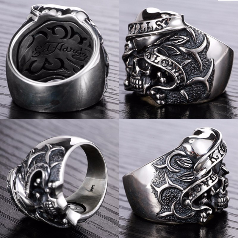 Image 3 - ZABRA 925 Silver Vintage Gothic Skull Ring Man Rings Heart Signet