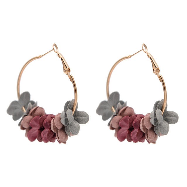 Fashion Fabric Flower Hoop Earrings For Women 2018 Statement Colorful Petal Big Gold Circle Earrings Jewelry Wholesale Brincos