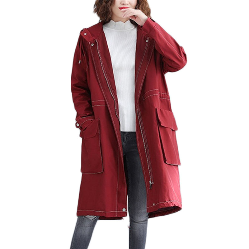 New Spring Autumn Long Hooded   Trench   coat Cardigan Coats Women Long-sleeve Casual Windbreaker Literary Outerwear A1123