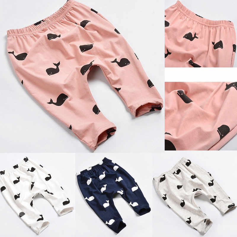 2016 New Baby Girl boys Pants 1piece Cute Cartoon Whale Printing Soft Baby Kids Pants Trousers Leggings