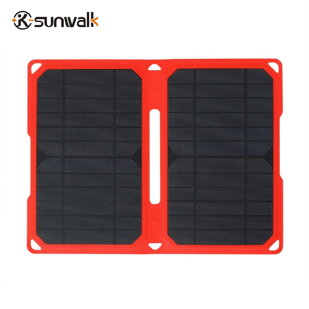 14W Super-Slim ETFE Laminated Foldable Solar Panel Charger Portable Waterproof Dual USB Solar Panel for IOS and Android Phone