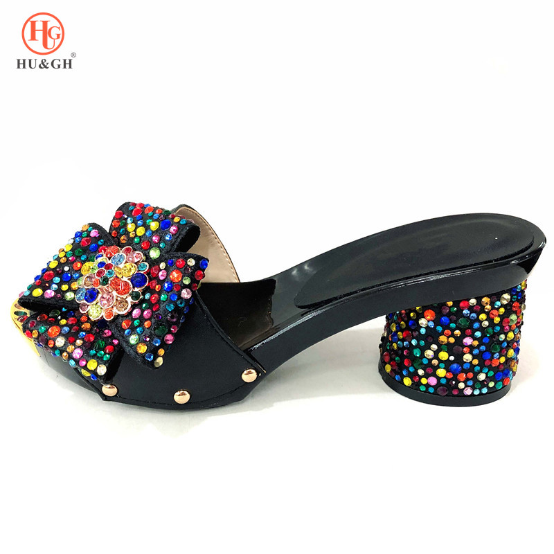 2019 Noir Couleur Italien Dames Sexy Talons hauts Chaussures Femmes Pompes Strass Dames Pompes Africain Sandale Chaussures pour la Partie De Mariage