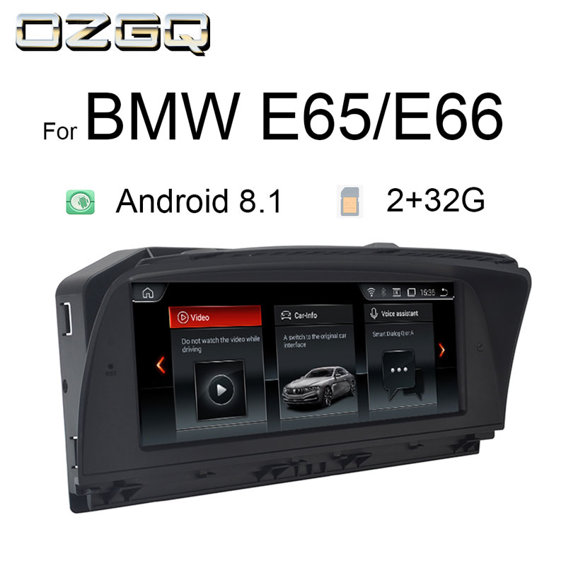 OZGQ Android 8.1 System IPS Screen Car GPS Navigation Multimedia Radio Stereo For BMW 7 Series 2005 2009 E65 E66 With Bluetooth