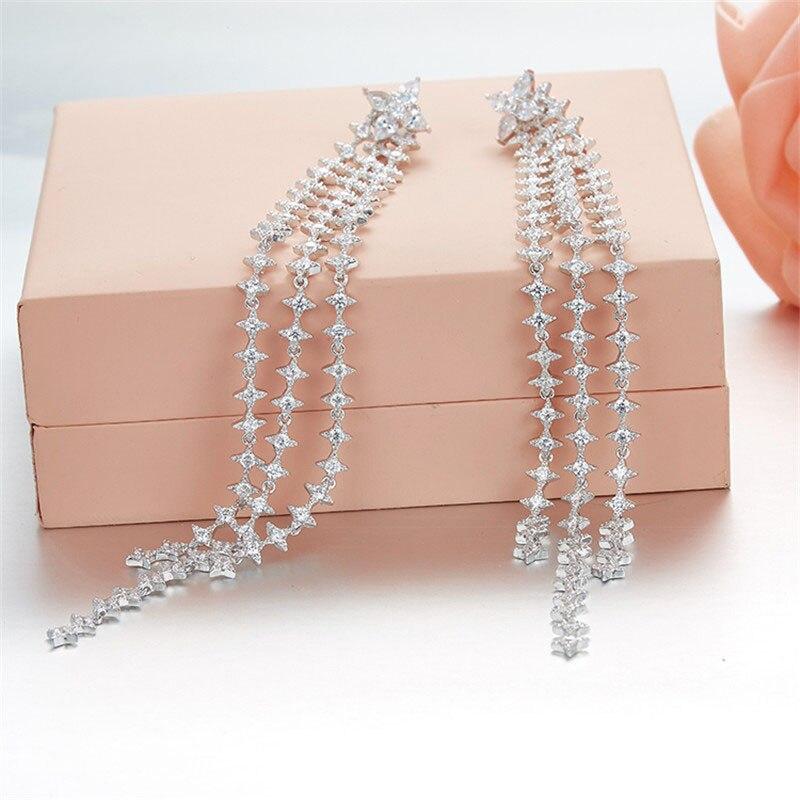 SLJELY Monaco Designer 925 Sterling Silver Cubic Zirconia Star Tassel Long Earrings Women Fashion Wedding Party