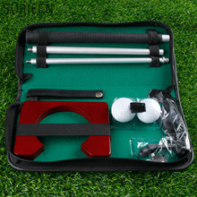 Portable Golf Tranning Aids Indoor Outdoor Golf Ball Holder Golf Putter Putting Practice Kit Golfer Training Set With Case