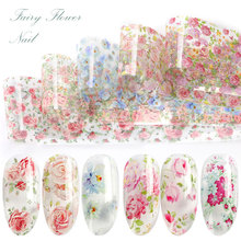 10 colours Nail Leaf Stickers Varnish Mix Rose Flower Transfer Foil Nails Decal Cursors For Nail Art Decoration Manicure Designs fwc nail stickers on nails blooming flower stickers for nails lavender nail art water transfer stickers decals