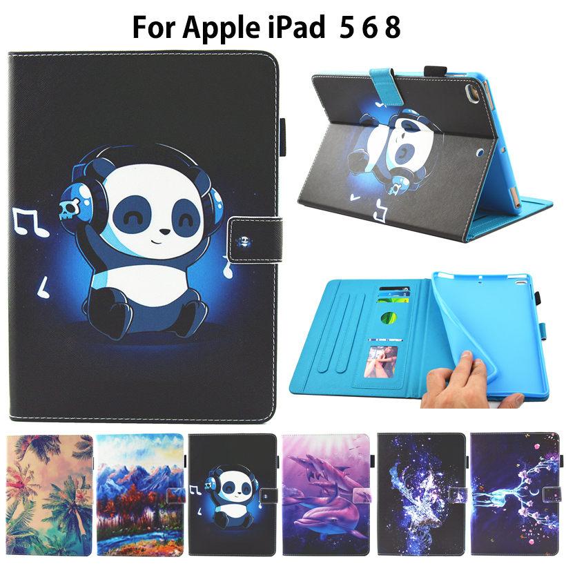 Fashion panda Painted Case For Apple New iPad 9.7 2017 A1822 Cover For iPad air air2 ipad 5 6 Smart Cover Funda Tablet Shell case for apple ipad 5 6 air1 air2