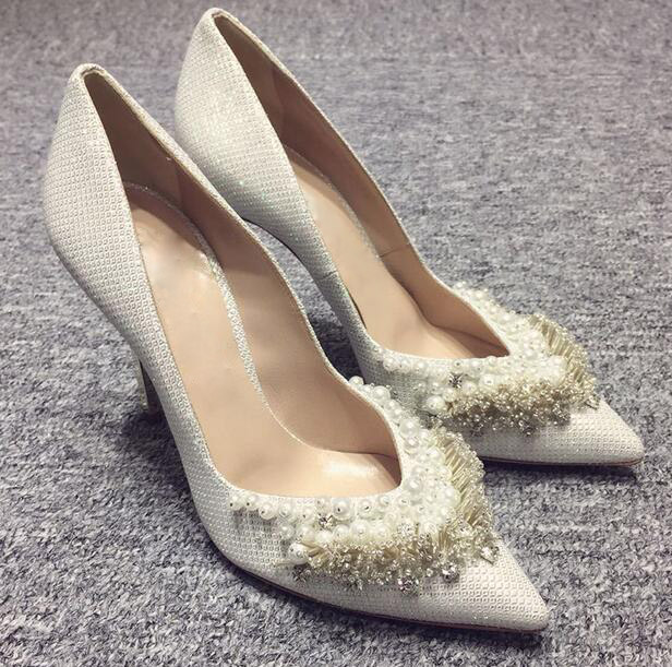 2018 Fashion Silver/Gold Glitter Women Slip On Pumps Sexy Pearl Fringe Ladies Pointy Toe High Heels Bling Wedding Dress Shoes phyanic bling glitter high heels 2017 silver wedding shoes woman summer platform women sandals sexy casual pumps phy4901